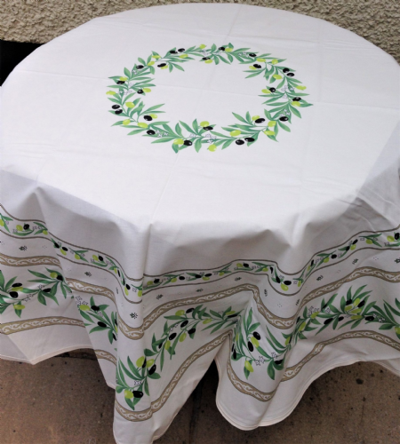 Olive Blossom Tablecloth Round 180cm  Coated